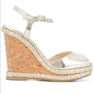 Jimmy Choo Perla Light Gold Wedges